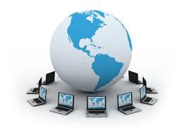 globe and small laptops around