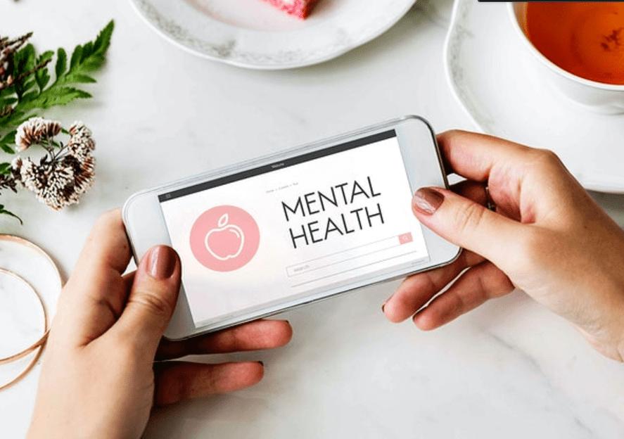 mental health on mobile screen